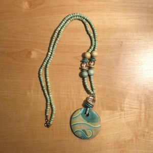 Stained Painted Wood and Mixed Beads Necklace
